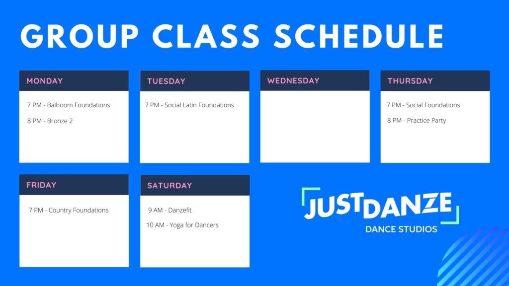 Just Danze Group Dance Class Schedule